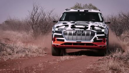 The Audi e-tron prototype in Namibia